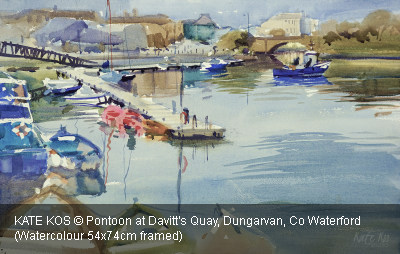 KATE KOS © Pontoon at Davitt's Quay, Dungarvan, Co Waterford (detail) (Watercolour 54x74cm framed)