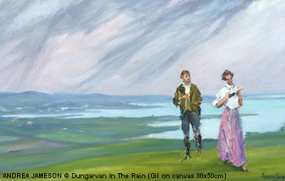 ANDREA JAMESON © Dungarvan In The Rain (Oil on canvas 30x50cm)